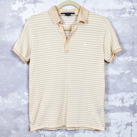 Ralph Lauren Golf Beige \u0026 White Striped Polo Shirt